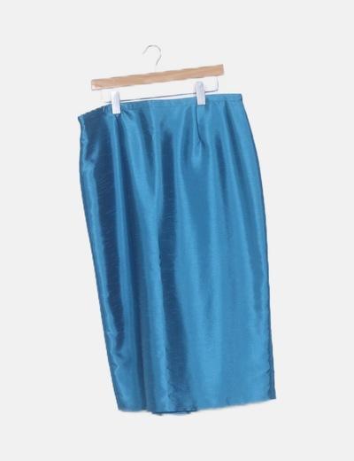 Conjunto falda midi, top y chaqueta fiesta azul