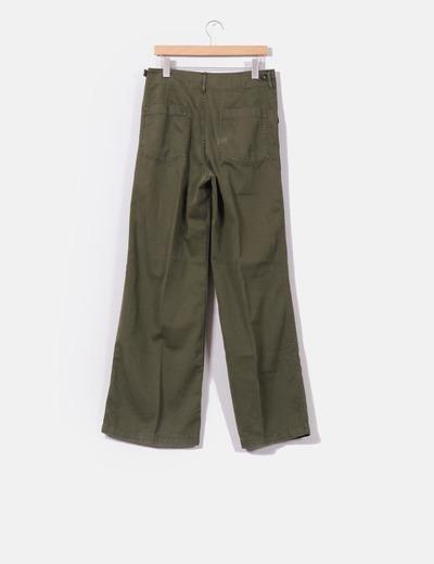 Pantalon pata ancha verde khaki