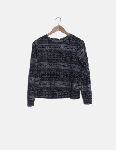 Suéter estampado étnico manga larga