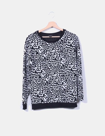 Sudadera black and white texturizada Amisu