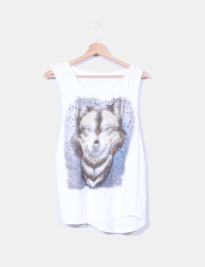 Camista blanca print lobo con tachas Mango