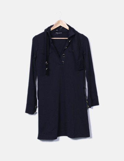 Vestido negro recto detalle botones Liberty Fashion
