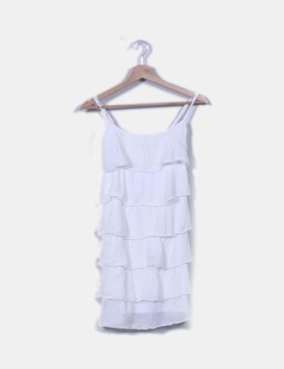 Vestido blanco de volantes NoName