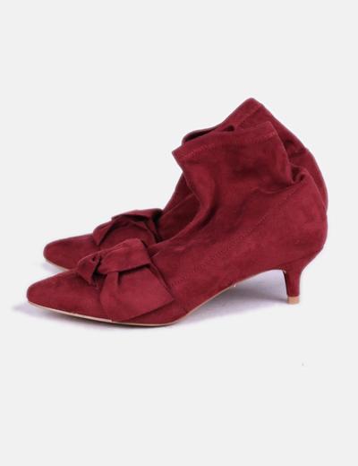 Zapatos lazo antelina burdeos Corina