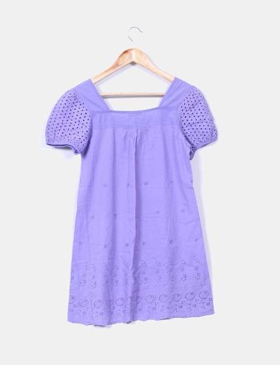Vestido lila troquelado