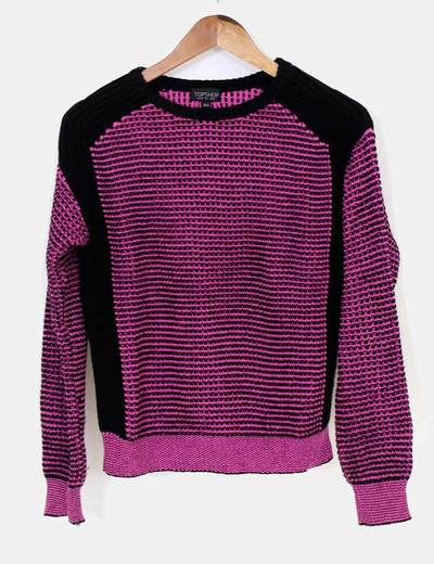 Jersey punto rosa negro Topshop