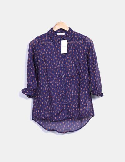 Camisa azul marino estampada Shana