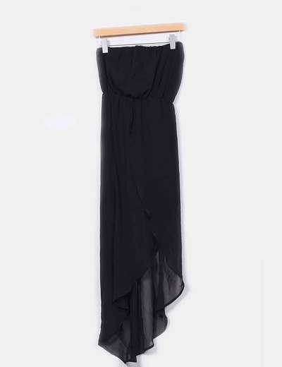 Vestido negro palabra de honor con abertura en la pierna Stradivarius