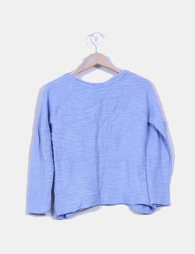 Tricot azul texturizado con estampado