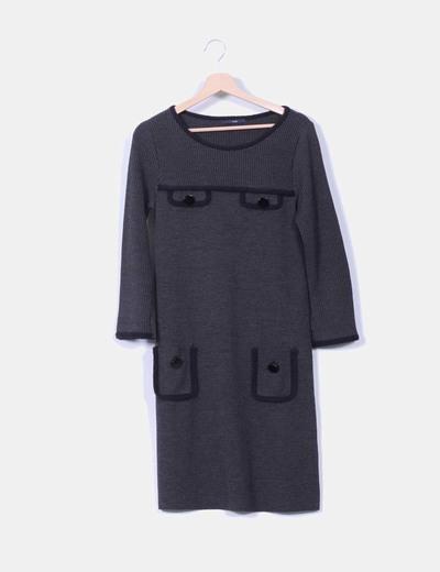 Vestido tricot gris marengo TMX