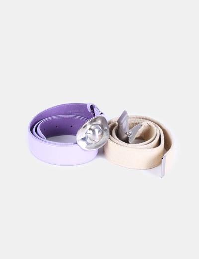 Conjunto de cinturones morado y beige NoName