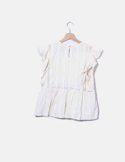 Blusa marfil textuzado con lazo