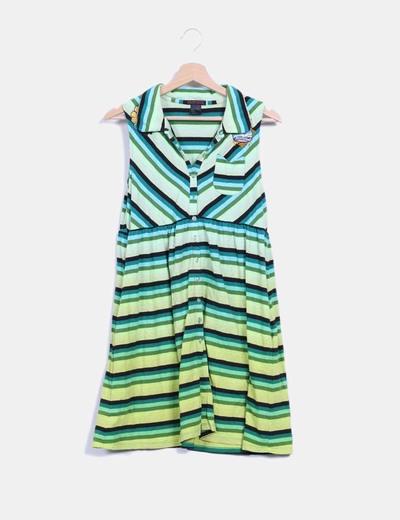 Vestido de rayas en tonos verdes