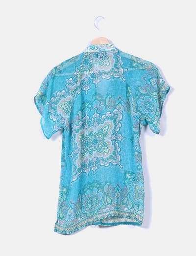 Blusa turquesa estampado cachemira