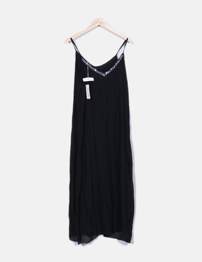 Pura Seta Vestido longo preto com lantejoulas (desconto de 78 ... 53ed46087d176
