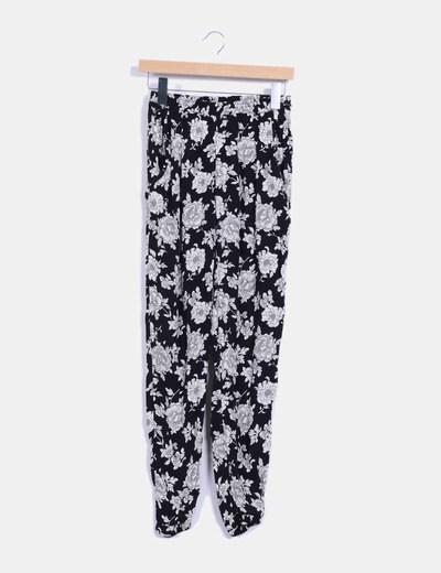 Pantalón bicolor con estampado floral NoName
