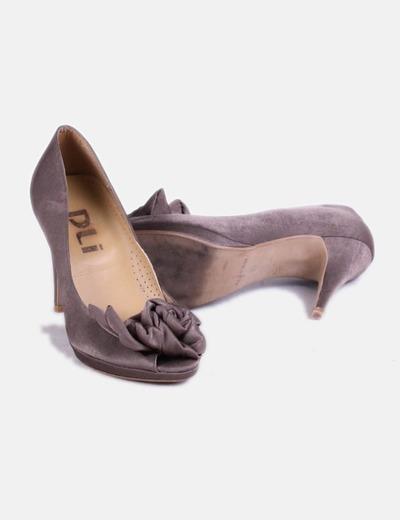 Zapato tacon taupe peep tor