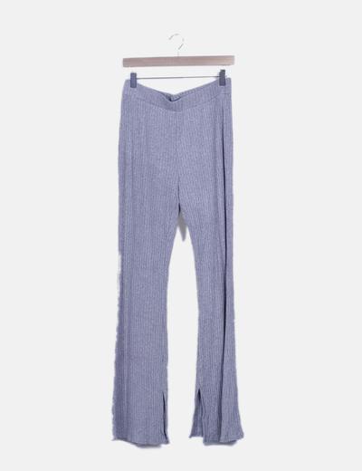 Pantalón canalé gris jaspeado
