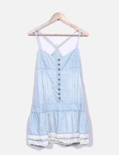 Vestido tirantes denim azul Zara