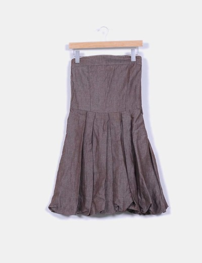Vestido marrón  con tablas NoName