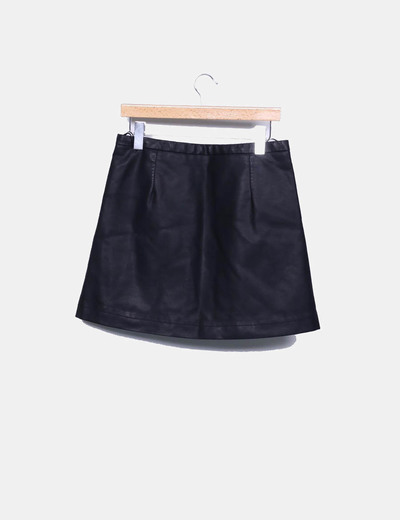 Falda polipiel negra cremalleras