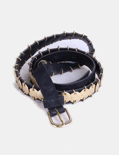 Zara Cinturón negro con tachas doradas (descuento 67%) - Micolet 03d6549f1f49