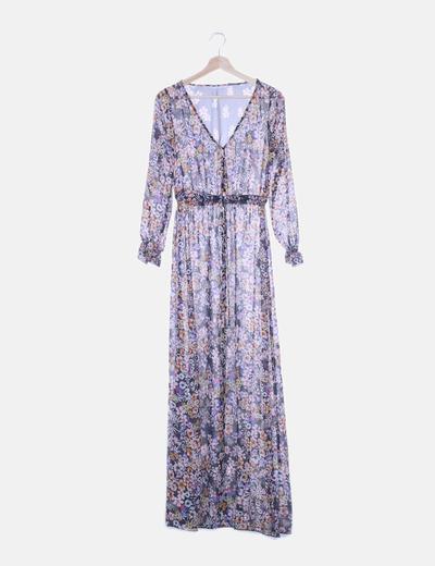 Maxi vestido semitransparente floral con abertura