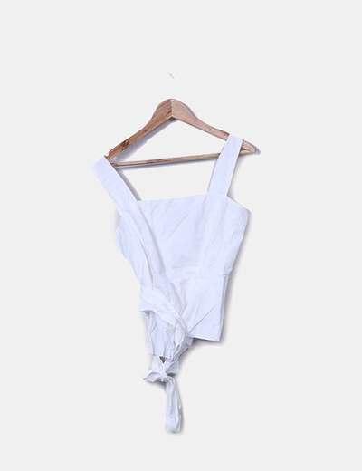 Camisa blanca tirantes lazo