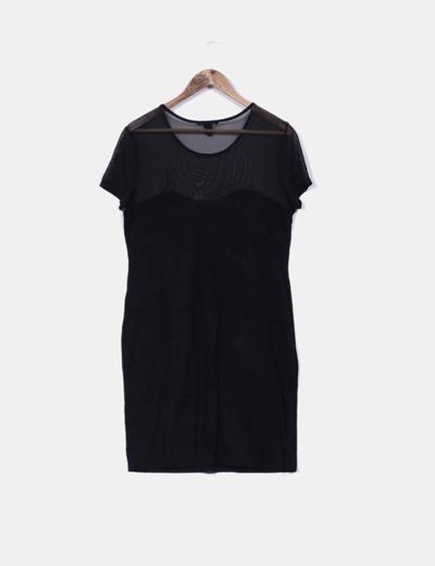 Vestido negro de manga corta con tachas plateadas
