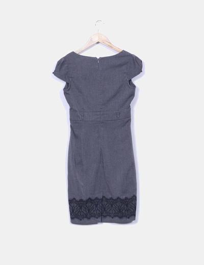 Vestido gris print encaje
