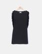 Vestido tricot elástico negro con flecos Suiteblanco