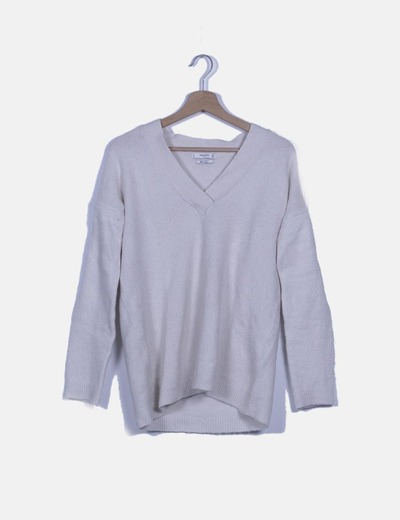 Jersey lana blanco escote V
