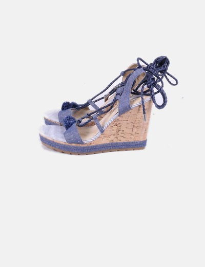 Sandalias cuna denim lace up