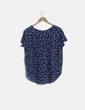 Camiseta texturizada manga corta azul estampada Zara