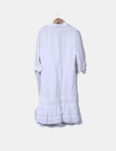 Vestido camisero maxi blanco roto