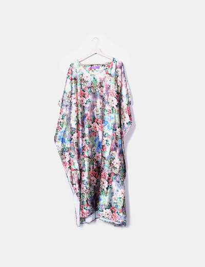 Vestido túnica satén floral