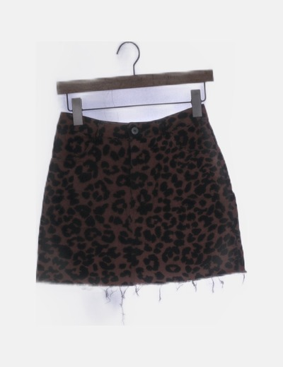 Falda denim teja animal print