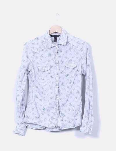 Camisa de rayas estampado floral Mango
