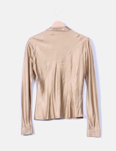 Camisa camel de seda