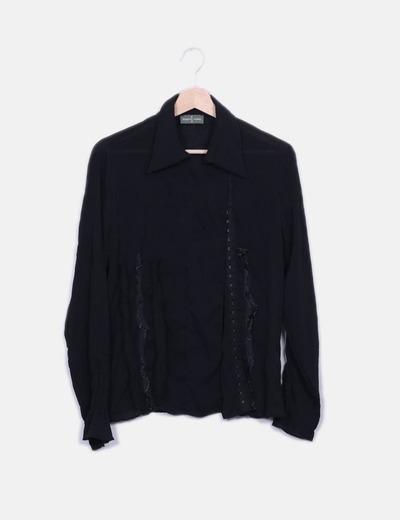 Camisa negra combinada Roberto Verino