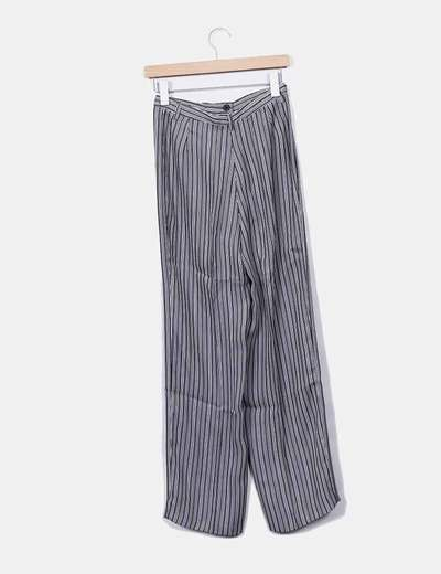 Pantalon fluido rayas grises y blancas