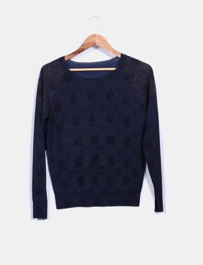 Suéter azul combinado print cuadros NoName