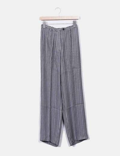 Pantalón fluido rayas grises y blancas María Cunchillos