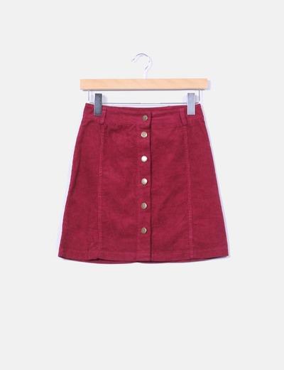 ee80eb738 Mini falda pana frambuesa con botones