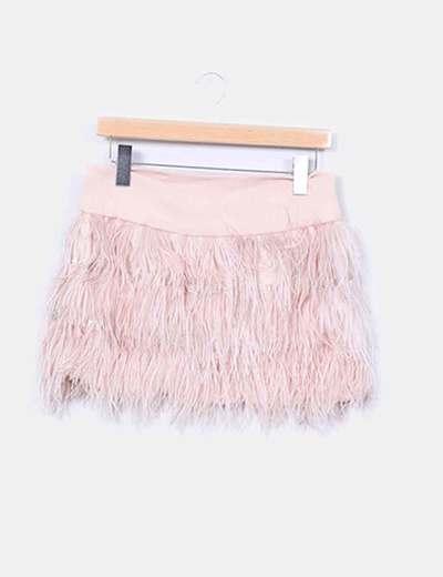 Mini falda combinada con plumas Sfera