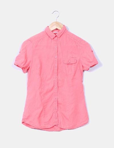 Camisa de lino coral manga corta Massimo Dutti