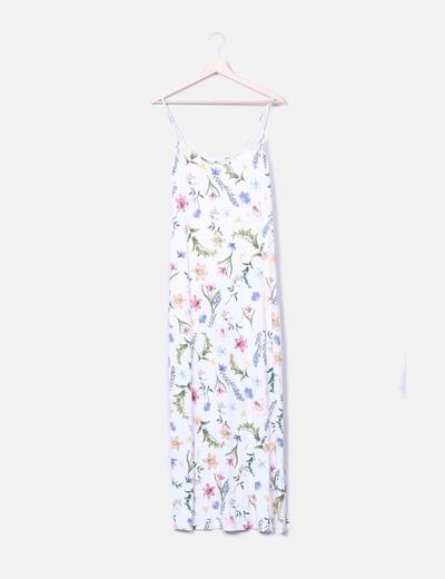 Vestido maxi blanco print tropical