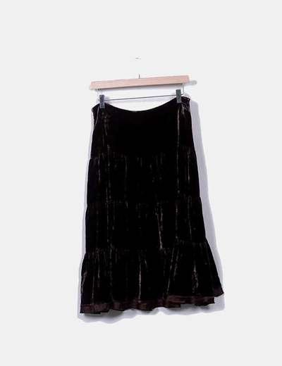 Falda midi terciopelo marrón