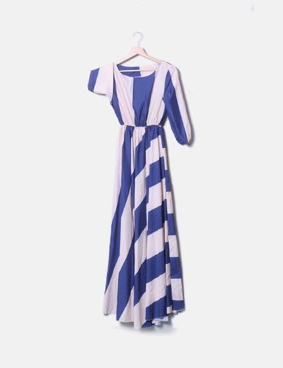NoName Maxi gestreiftes Kleid in Marineblau und Nude Farbe (Rabatt ... 29b954715d