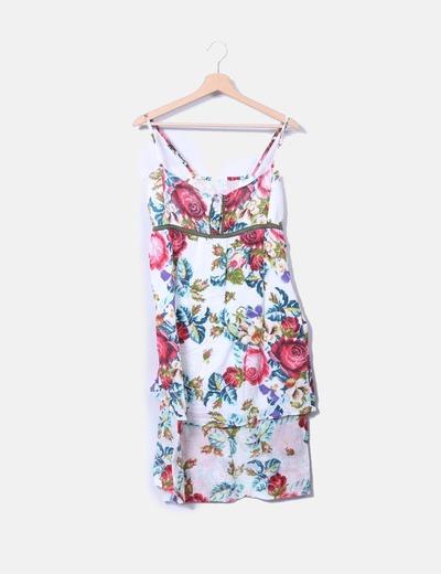 Vestido floral asimétrico de tirantes NoName